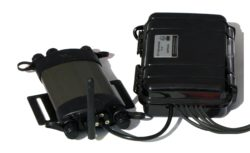 TSM2 data logger (left) and supplied breakout box for sensor connections (right)