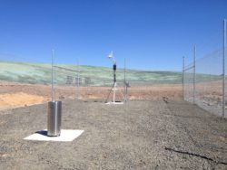The AWS with the SRG0 Stainless Steel Rain Gauge in the foreground.