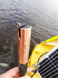C4E Sensor with copper coating for added protection, showing buoy mount for SNiP