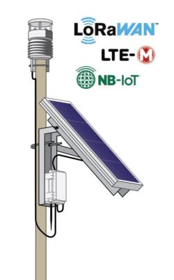 SNiP-AWS5-SL showing automatic weather station AWS500 with SPLM7-Mounted Solar Panel and Node