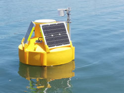 ICT Data Buoy in water showing the ATH-2S sensor mounted